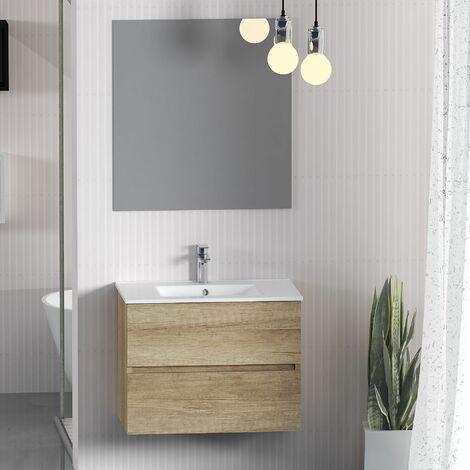 Conjunto de Muebles de Baño con Lavabo y Espejo, Suspendido a la Pared, Dos Cajones, Acabado en Nature, 60 x 55 x 46 cm