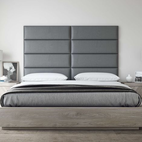 Decorative Panel Tufted Headboard Padded Wall 91cm Gray Leather