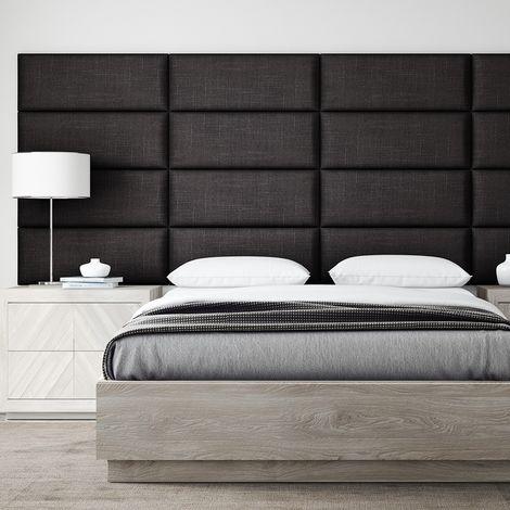 Decorative Panel Tufted Headboard Padded Wall 91cm Denin Black