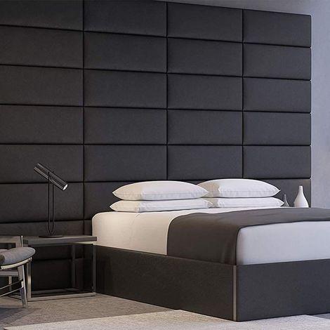 Decorative Panel Tufted Headboard Padded Wall 91cm Black