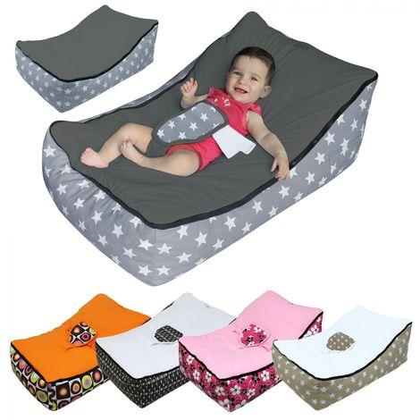 Transat pouf bébé avec 2 poches de rangement, poignée de transport et 2 assises - Monsieur Bébé