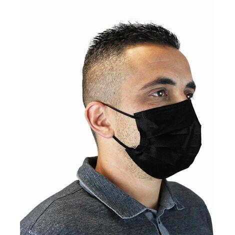 Lot de 50 masques chirurgicaux 3 plis jetables type II R - Noir - Vivezen