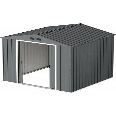 Casetas de Metal Eco Javea 10X10 gris Antracita. ideal para el jardin. Medidas 3.023 X 3.221 X 1.961 mm. Superficie 9,73 m2 de Duramax.