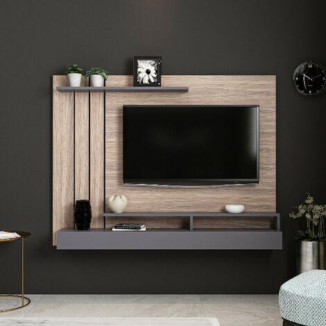 Meuble TV Lawrance Moderne Murale - avec etageres - pour Salon - Anthracite en Bois, 157 x 21 x 120 cm