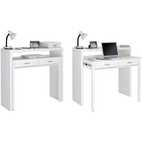 Ausziehbarer Schreibtisch, Studio-Konsolentisch, Computertisch, PC, 2 Schubladen