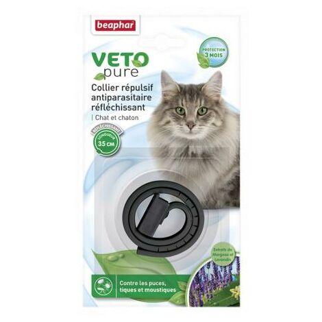 Collar gato reflectante negro con extracto de margosa