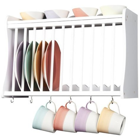 Minack Kitchen Plate Rack in White // Wall-mounted or Freestanding // Features Hooks Below and Shelf Above
