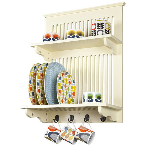 Aston Kitchen Plate Rack in Buttermilk // Wall-mounted, with Solid Top Shelf Above and Hooks Below // Contemporary Kitchen Storage