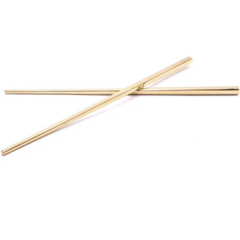 vhbw 1x pair of chopsticks stainless steel - gold