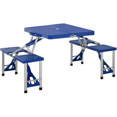 Mesa Plegable de Camping – Con 4 Sillas – Aluminio – Medidas 84.5 x 64.5 x 66 cm Azul