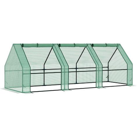 Outsunny Invernadero de Jardín Terraza para Plantas con Ventanas PE - Verde