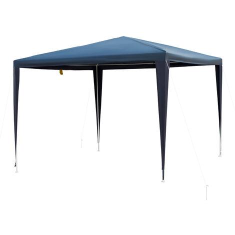 Outsunny Carpa Desmontable Pabellón de Jardín de Tubo Acero Pérgola 3x3x2.45m Azul - azul oscuro