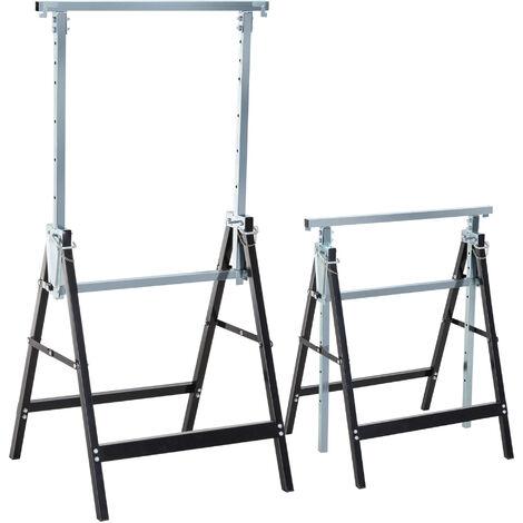 HOMCOM Set de 2 Andamios Caballete Telescópico Altura Ajustable Plegable 200kg Acero - Negro