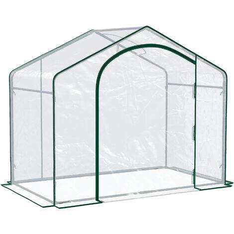 Outsunny Invernadero Transparente de Jardín Vivero Casero Plantas Jardinería - Transparente y verde