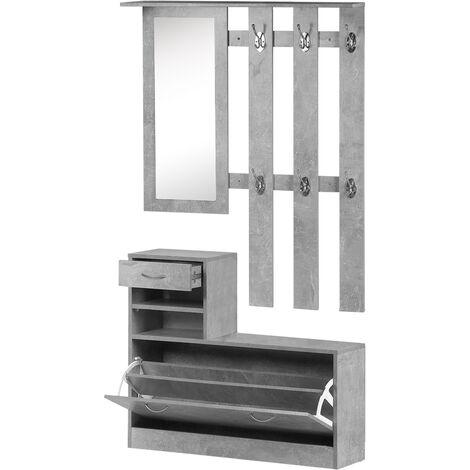 HOMCOM Conjunto Muebles de Entrada Recibidor Pasillo 3 Piezas Perchero Espejo Zapatero - Gris