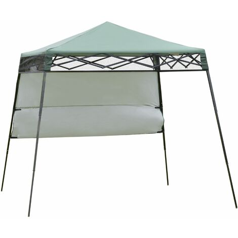 Outsunny Carpa Plegable 2,2x2,2x2m con Lateral y Protección UV 50+ de Acero Verde - Verde