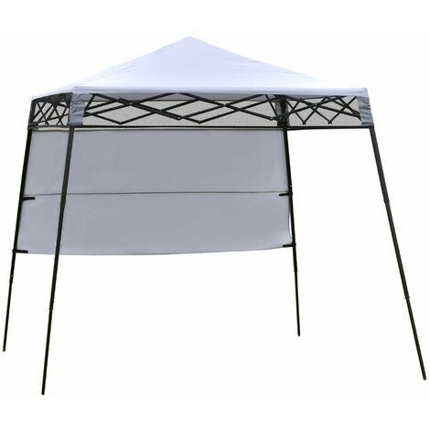 Outsunny Carpa Plegable 2,2x2,2x2m con Lateral y Protección UV 50+ de Acero Blanco - Blanco