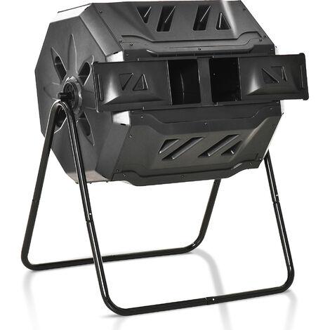 Outsunny Compostador de Tambor Giratorio con Capacidad 160 Litros de Doble Cámara y Ventilación Marco de Acero para Residuos Orgánicos Jardín 71x64x92 cm Negro - Negro