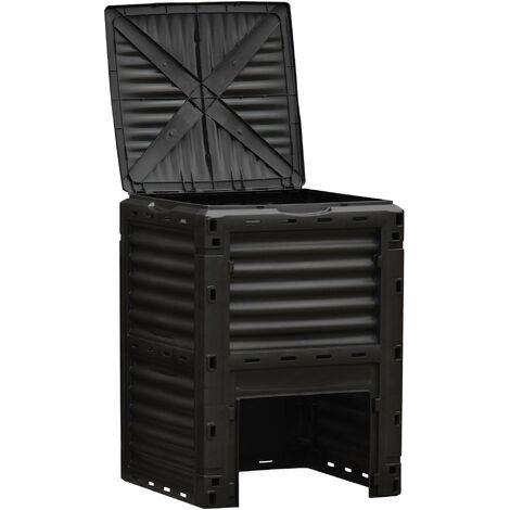 Outsunny Compostador Capacidad de 300L Compostera Orgánica para Producción Abono de Jardín Exterior con 48 Respiraderos 60,5x60,5x81,5 cm Negro - Negro