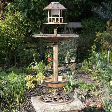Kingfisher Copper Effect Solar Light Bird Bath Feeding Station Feeder Planter