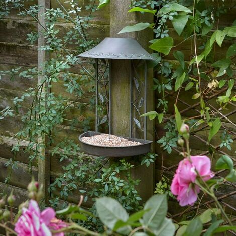 Peckish Secret Garden Wall Hanging Metal Seed Wild Bird Feeder Table