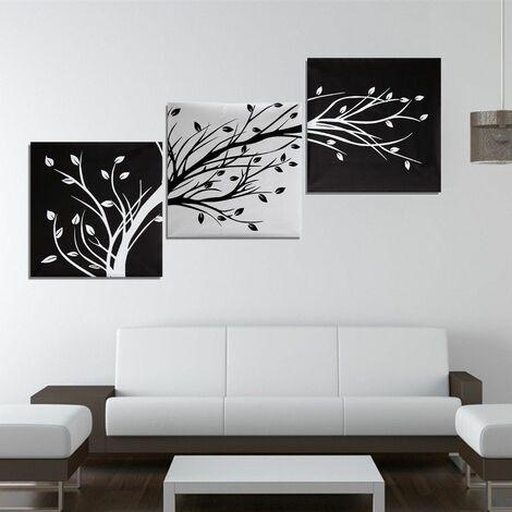 3Pc Tableau Peinture à l'huile l'arbre en Toile Art Moderne Décor Mur Salon 50x50cm (sans Cadre)