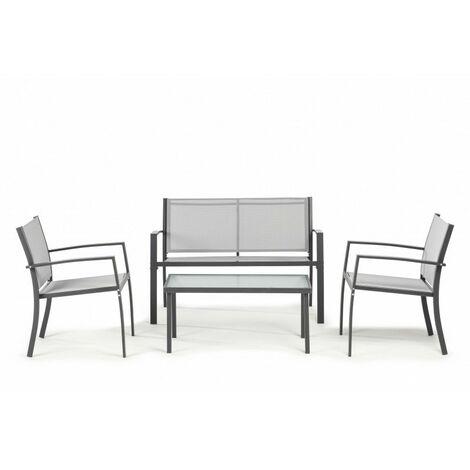 Mobilier de jardin extérieur Cancun composé de 1 canapé de jardin extérieur, 2 fauteuils de jardin extérieur et 1 table de jardin, textile, gris