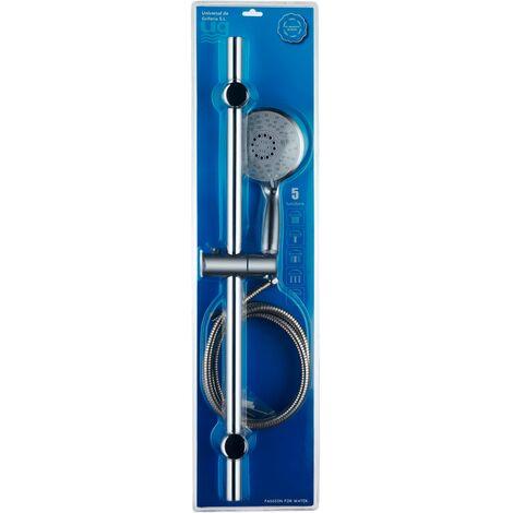 DP Grifería - Kit de ducha con barra, soporte móvil, mango 5 funciones y flexo incluidos, modelo Edimburgo