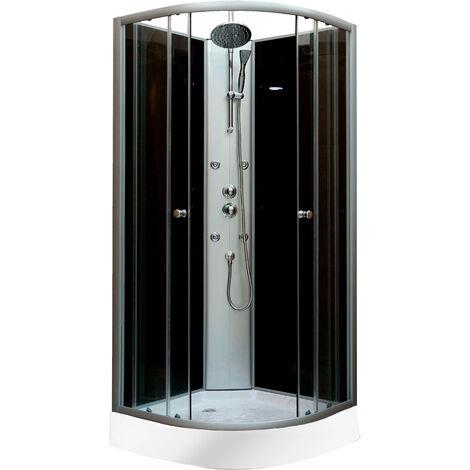 DP Grifería - Cabina de ducha de 1/4 de circulo en color negro, modelo DP-8585 (85x85x197 cm)