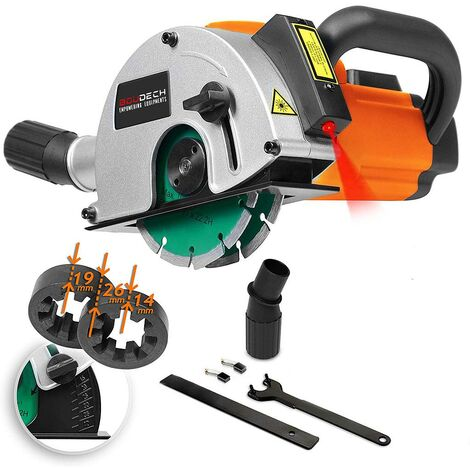 1700W Wall Chaser Track Grooving Machine with Laser Guide, 2 Diamond Blades, Vacuum Cleaner Adapter and 3MT Power Cable.