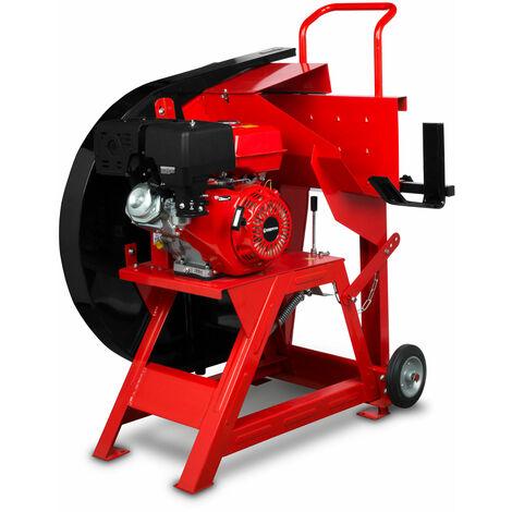 13 PS Benzin Wippsäge (230 mm Holzdurchmesser, Ø 700 mm Hartmetallsägeblatt, luftgekühler 4-Takt Benzinmotor, Bremsschalter, stabiles Untergestell inkl. Fahrgestell) Brennholzsäge Wippkreissäge
