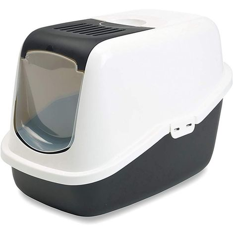 Savic Nestor Indoor Cat Toilet/Litter Box (One Size) (White/Black)