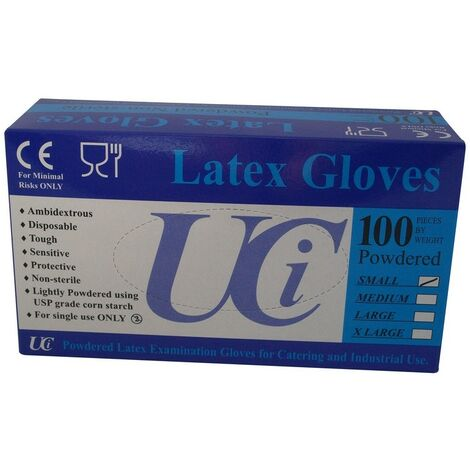 Unisex Adults Gloves Latex Examination Pack Of 100