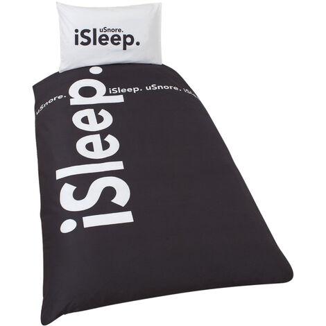 ISleep Reversible Duvet Cover Bedding Set (Single Bed) (Black/White)