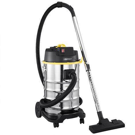 Monzana aspiradora en seco y húmedo 30L 1800W 3 filtros Acero inoxidable cepillos suelo muebles alta movilidad manguera de 3m