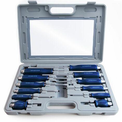 Monzana Set de 12 destornilladores de cruz y líneal de cromo vanadio con caja de plástico diferentes tallas herramienta