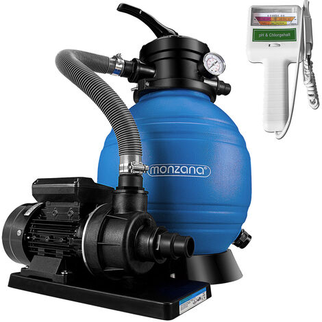Deuba Depuradora 10.200 l/h bomba de filtro de arena con válvula con 4 funciones + medidor de calidad de agua para piscina