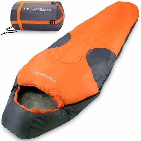 Monzana Saco de Dormir Frozen Mummy para acampar impermeable transpirable para invierno con bolsa de comprensión para viajes senderismo 230x82cm