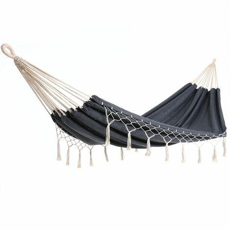 Detex Hamaca de algodón con flecos carga máx.300kg para 2 personas 320x150cm para jardín terraza camping - color a elegir