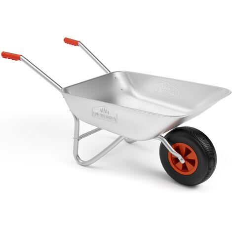 Gardebruk Carretilla 80L acero galvanizado con rueda para jardinería y obras diarias carga máx 150Kg