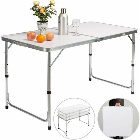 Casaria Tavolo da campeggio pieghevole in alluminio con maniglia di trasporto 120x60x70 cm tavolo da giardino