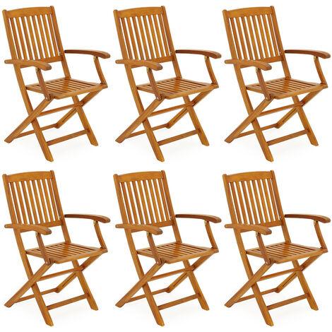 Set di 6 sedie da giardino Boston in legno di acacia pieghevoli resistenti alle intemperie poltrona da esterno