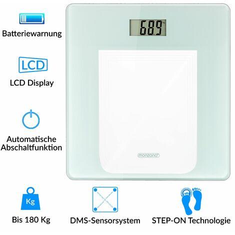 Pèse personne balance digitale LCD blanc 180kg système de capteurs slim moderne pèse-personne salle de bains poids