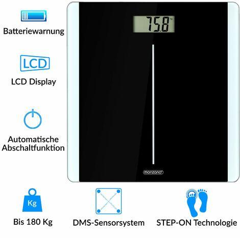 Pèse personne balance digitale noir 180kg 4 capteurs écran LCD verre trempé pèse-personne salle de bains poids