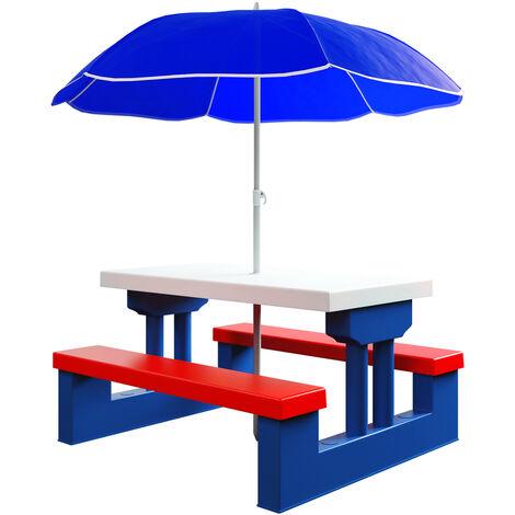 Salon de jardin pour enfants Ensemble de jardin table bancs avec parasol jeux enfants intérieur extérieur transportable