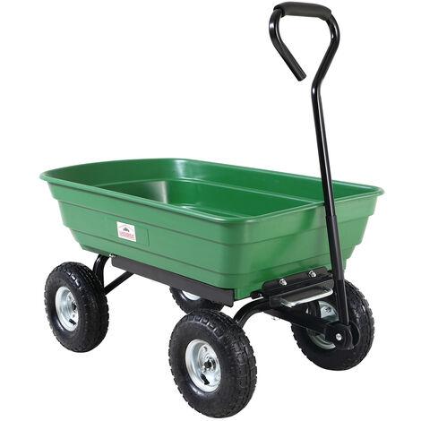 Brouette verte - Chariot de jardin avec fonction d'inclinaison, essieu directeur et pneumatiques