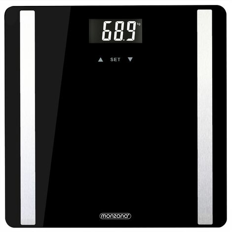 Balance impédancemètre pèse personne digitale écran rétroéclairé LCD 8 fonctions analyse d'impédance bioélectrique (BIA) slim moderne pèse-personne salle de bains poids
