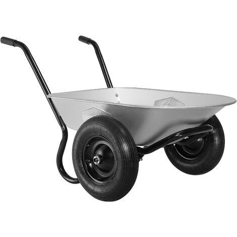 Brouette de jardin 2 roues 100 litres Capacité de charge 150 kg Transport jardinage chantier