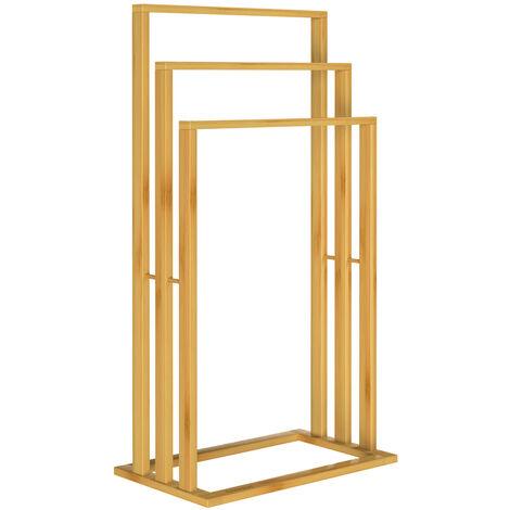 Porte-serviettes en bambou sur pied avec 3 barres Étagère de salle de bain Support pour serviettes charge max 15 kg 1x