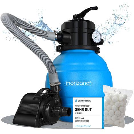 Monzana Sandfilteranlage MZPP05 4,5 m³/h 4 Wege Ventil inkl. 320g Filterbälle Filterwatte Sandfilter Filteranlage Poolfilter